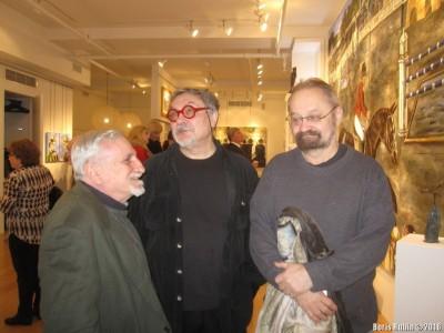 М.Одноралов, В.Комар и В. Козловский на выставке картин
