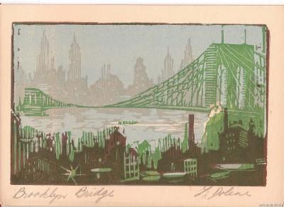 Бруклинский мост - открытка-линогравюра
