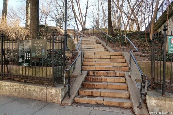 Лестница, ведущая в Маунт Проспект Парк