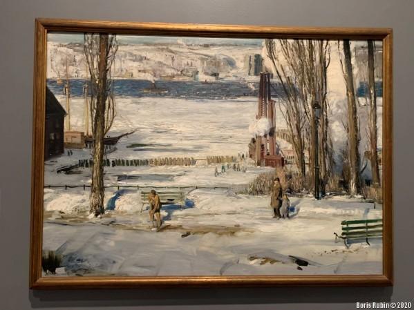 "Картина Джорджа Уэсли Белловса ""Утренний снег на Гудзоне"""